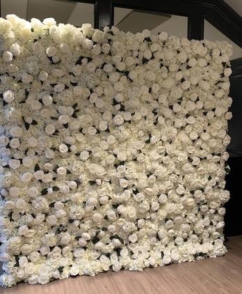White Rose Garden Flower Wall
